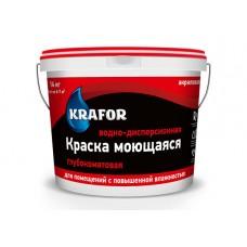Краска ВДАК KRAFOR интерьерная глубокоматов. моющ. СБ 14кг красная крышка